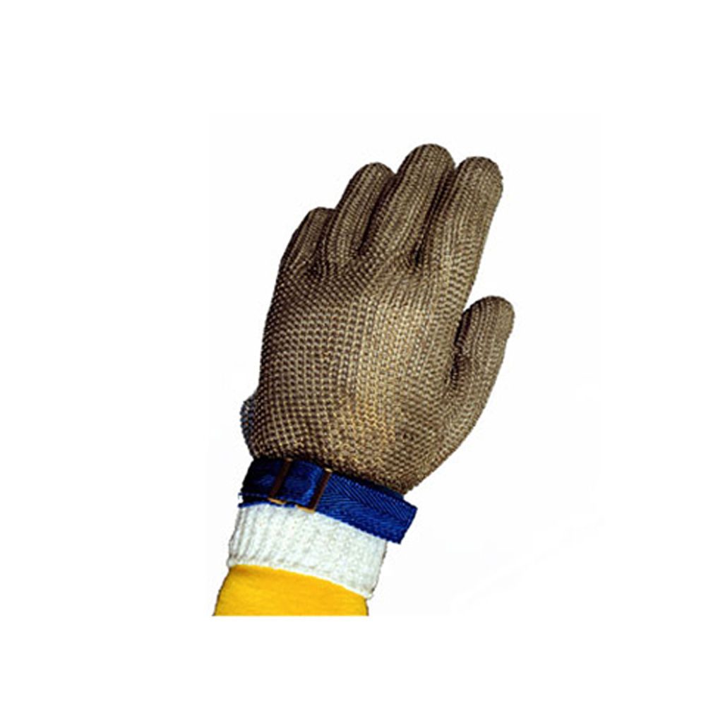 Tomlinson 1036473 Full Hand Metal Mesh Glove, 304L Stainless, Nylon Strap, Medium
