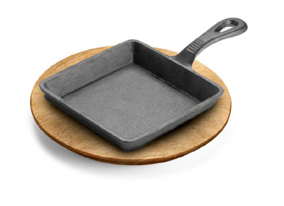 Tomlinson 1022999 Preseasoned Square Cast Iron Skillet, 5-3/4 x 5-3/4 x 1-1/8-in