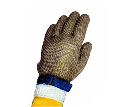 Tomlinson 1036471 Full Hand Metal Mesh Glove, 304L Stainless, Nylon Strap, X-Small