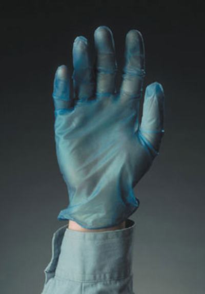 Tomlinson 1036710 Powdered Blue Disposable Food Service Glove, Vinyl, Small