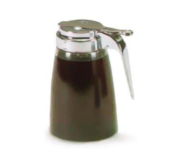 Traex 2710L Dripcut Syrup Server 10 oz. Polycarbonate Jar Chrome Plated Top Clear Restaurant Supply