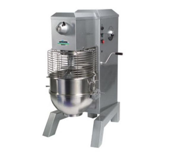 Univex SRM80+ 2081 80-qt Floor Model Mixer, Beater Whip Dough Hook, 208/240/1, Silver