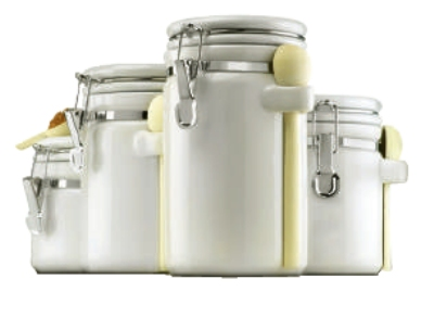 Anchor 03806WMR 4-Piece Ceramic Canister Set w/ Wood Spoon & Clamp Top Lid, White