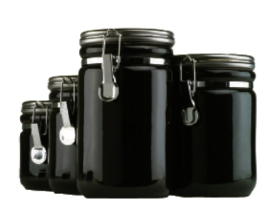 Anchor 03923MR 4-Piece Ceramic Canister Set w/ Wood Spoon & Chrome Top Lid, Black