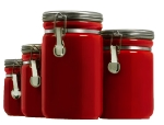 Anchor 03923RED 4-Piece Ceramic Canister Set w/ Clamp Top Lid, Red