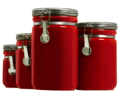 Anchor 03923RED 4-Piece Ceramic Canister Set w/ Wood Spoon & Clamp Top Lid, Red