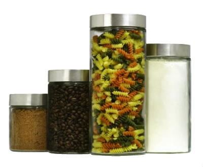 Anchor 09746C 4-Piece Round Canister Set w/ Stainless Screw Top Lids, Glass