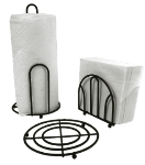Anchor 13283BLK 3-Piece Accessory Set w/ Napkin Holder, paper Towel Holder & Trivet, Black