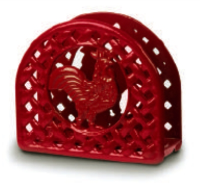 Anchor Hocking 21571XRD Cast Iron Napkin Holder Red Rooster Design Restaurant Supply