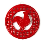 Anchor 21572XRD Cast Round Iron Trivet, Red Rooster Design