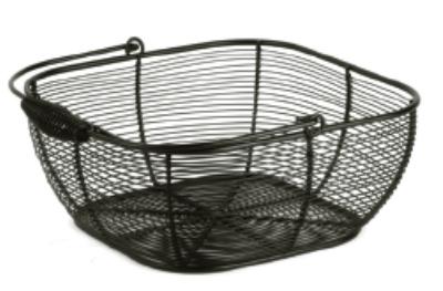Anchor 23475MR Square Wire Fruit Basket, Handle, Black