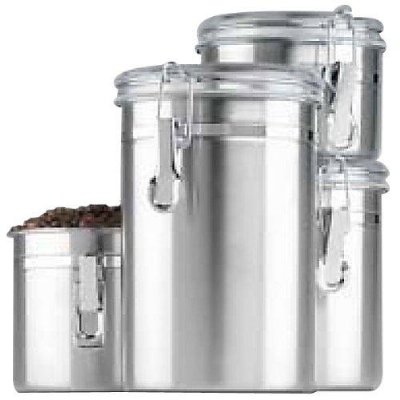 Anchor 24954 Clamp Canister Set w/ Clear Lid & Window Box, Cast Iron
