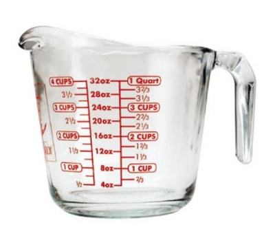 Anchor 55178OL11 32-oz Open Handled Measuring Cup w/ Red Lettering