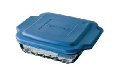 Anchor 81665OBL5 8-in Square Sculpted Baking Dish w/ Blue Plastic Lid