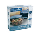 Anchor 82460OBL5 2-qt Sculpted Casserole Set w/ Blue Lid & Tote