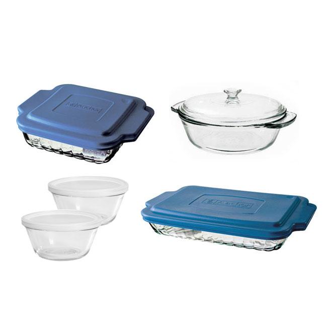 Anchor 82642OBL11 10-Piece Bakeware Set w/ Baking Dish, Casserole, Cake Dish, 2-Custard Cups, Lids