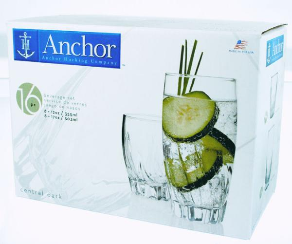 Anchor 84700L8 Central Park Tumbler Set w/ (8)17-oz Large & (8)12-oz Smal
