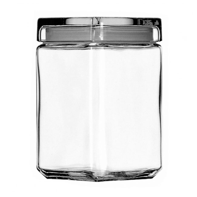 Anchor 85588R Stackable Square Storage Jar, 1-1/2 qt., Glass Lid