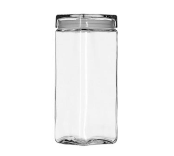 Anchor 85634 Stackable Square Storage Jar, 2-1/2 qt., Glass Lid