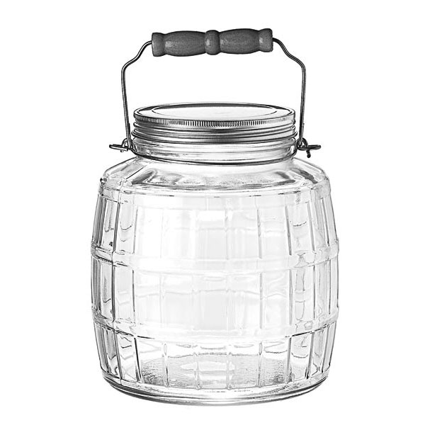 Anchor 85728 1-gal Square Barrel Jar w/ Handle & Brushed Aluminum Lid