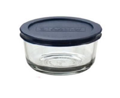 Anchor 85907 4 cup Round Kitchen Storage Container, Blue Lid