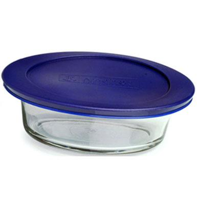 Anchor 85909 3 qt Oval Kitchen Storage Container, Blue Lid