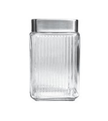 Anchor 85982 Stackable Column Jar, Square, Brushed Aluminum Lid, 1.5 qt