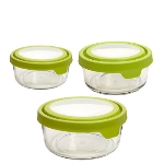 Anchor 91069 TrueSeal Round Storage Set w/ 2-cup, 4-cup & 7-cup Containers & 3-Green Lids