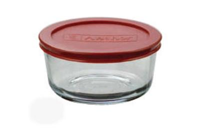 Anchor 91547L7 2-cup Round Kitchen Storage Container w/ Red Polyethylene Lid, Glass