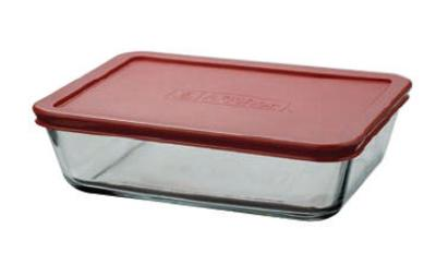 Anchor 91551L7 6 cup Rectangular Kitchen Storage Container, Red Lid