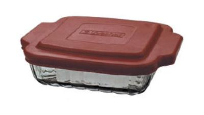 Anchor 91556OBL5 8-in Square Sculpted Baking Dish w/ Red Plastic Lid