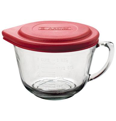 Anchor Hocking 91557L7 2 qt Batter Bowl With Red Lid Crystal Restaurant Supply