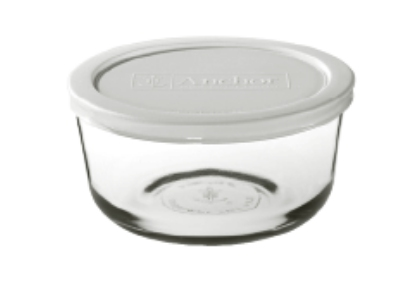Anchor Hocking 91664 1 cup Round Kitchen Storage Container White Lid Restaurant Supply