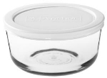 Anchor 91667L11 7-cup Round Kitchen Storage Container w/ White Plastic Lid, Glass
