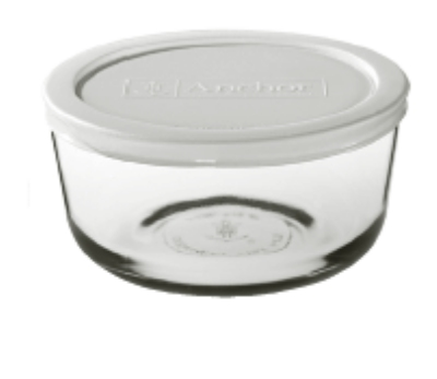 Anchor Hocking 91665 2 cup Round Kitchen Storage Container White Lid Restaurant Supply