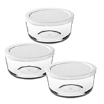 Anchor 91673 Kitchen Storage Set w/ (3)2-cup Round Containers & 3-White Lids