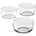 Anchor 91674 Kitchen Storage Set w/ 6-cup, 7--cup & 11-cup Round Containers & 3-White Lids