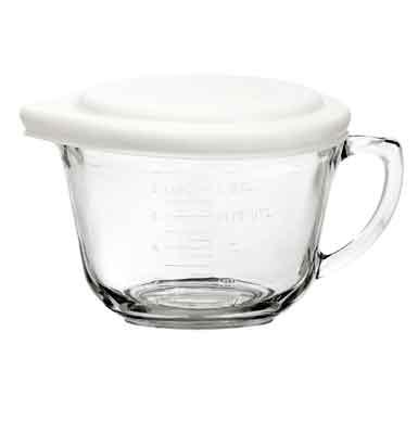Anchor 91679 2-qt Batter Bowl w/ White Lid, Glass
