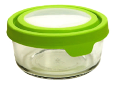 Anchor 91687 2-cup TrueSeal Round Storage Container w/ Cover, Crystal, Green