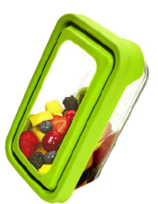 Anchor 91691 4.75-cup TrueSeal Rectangular Storage Container w/ Cover, Crystal, Green