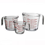 Anchor 92032TG Open Handle Measuring Cup Set w/ 8-oz, 16oz, 32-oz Cups & Red Marking, Glass