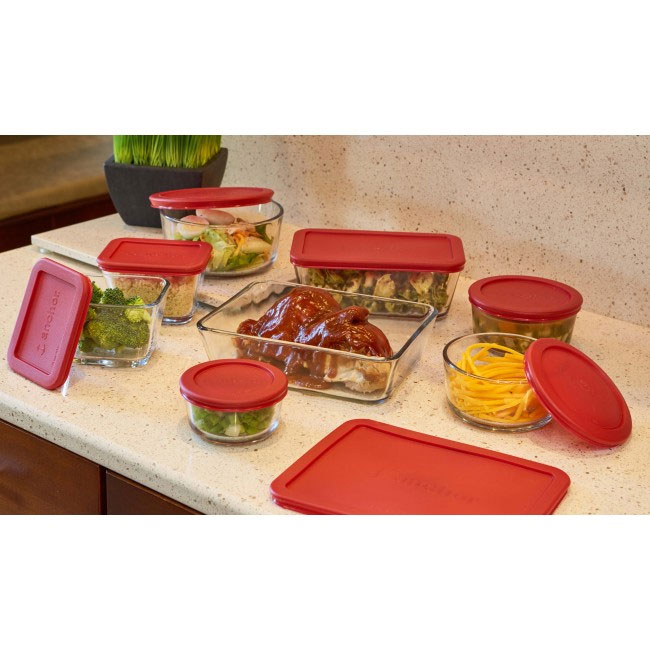 Anchor 92092 16-pc Storage Set w/ (4) Round & (4) Rectangular Containers & (8) Red Lids