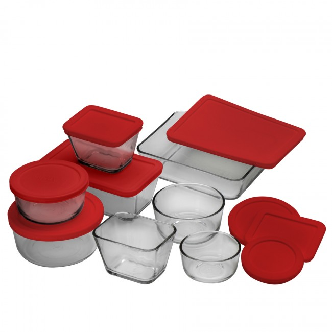 Anchor 92092 Kitchen Storage Set w/ 4-Round Containers, 4-Rectangular Containers & Red Lids