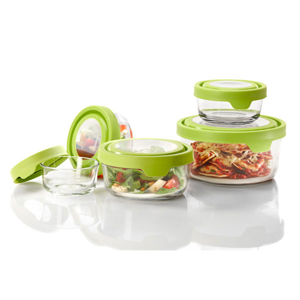 Anchor 92093 TrueSeal Round Storage Set w/ 1-cup, 4-cup, 7-cup & (2)2-cup, Crystal, Green