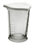 Anchor 94793W9 8-oz Triple Pour Embossed Measuring Glass w/ Lid, Crystal