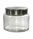 Anchor 95747 48-oz Mini Modern Montana Jar w/ Brushed Aluminum Metal Cover, Crystal