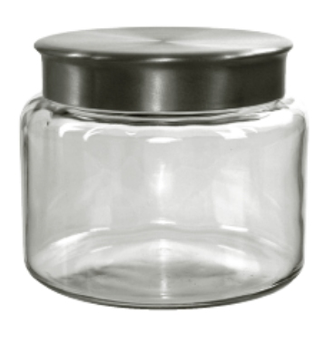 Anchor 95748 64-oz Mini Modern Montana Jar w/ Brushed Aluminum Metal Cover, Crystal
