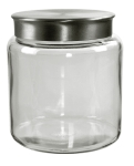 Anchor 95749 96-oz Mini Modern Montana Jar w/ Brushed Aluminum Metal Cover, Crystal
