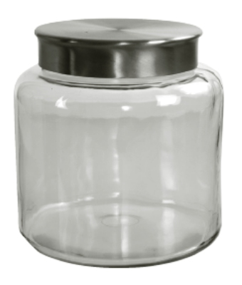 Anchor 95750 1.5-gal Mini Modern Montana Jar w/ Brushed Aluminum Metal Cover, Crystal
