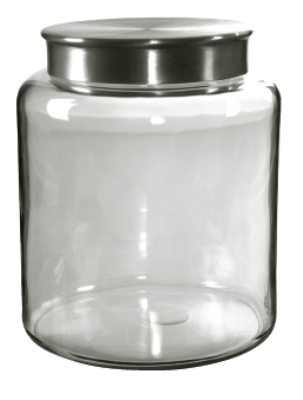 Anchor 95751 2-gal Mini Modern Montana Jar w/ Brushed Aluminum Metal Cover, Crystal